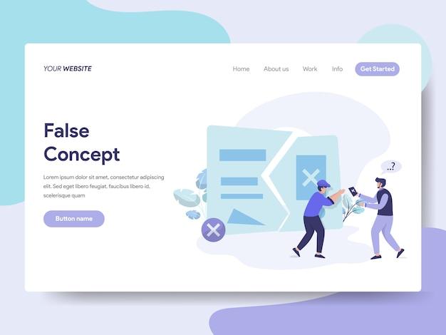 Idea e concetto falsi per la pagina web Vettore Premium