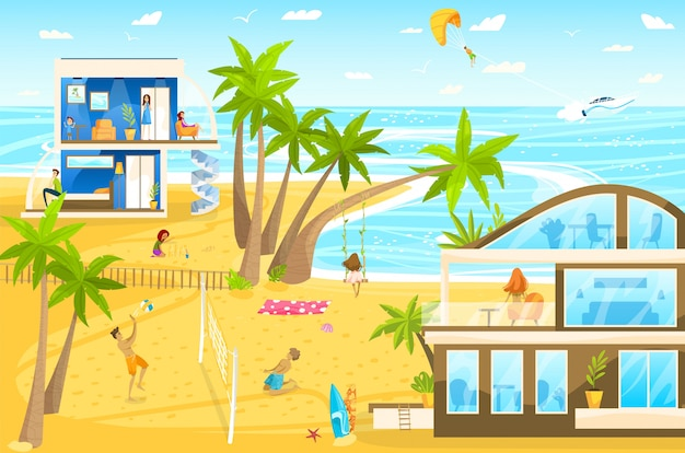 Famiglia sulla vacanza della spiaggia sull'illustrazione tropicale del fumetto della località di soggiorno con i bambini che giocano con la palla e la pistola a acqua, costruenti castelli di sabbia. Vettore Premium