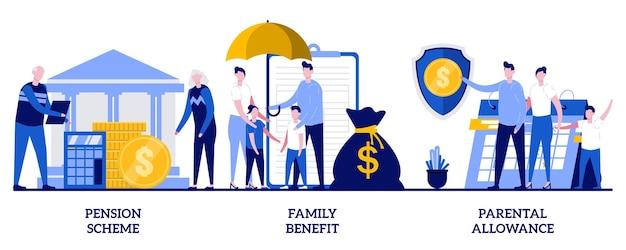 Assegno familiare, regime pensionistico, concetto di assegno parentale con persone minuscole. insieme dell'illustrazione dell'estratto di pagamenti di sicurezza sociale. sostegno finanziario per crescere figli, metafora assicurativa. Vettore Premium