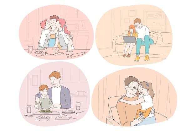 Cura della famiglia, paternità, infanzia, lettura, concetto di tempo libero. uomo padre papà allenatore genitore giocando Vettore Premium
