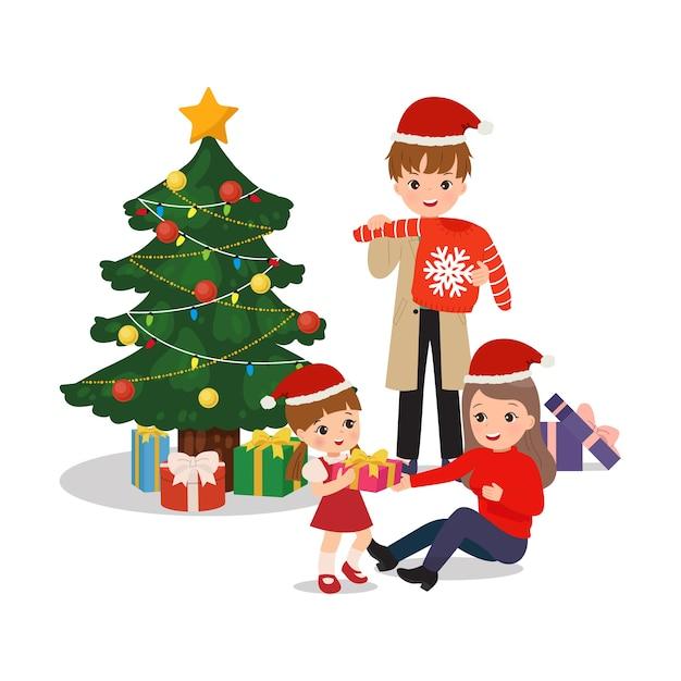Famiglia che celebra il natale insieme. scambiare e aprire regali insieme. felice genitore e figlia clipart. vettore di stile piatto isolato. Vettore Premium