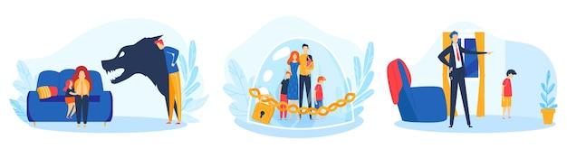 Conflitto familiare, insieme dell'illustrazione del problema dei figli dei genitori Vettore Premium
