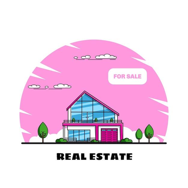 Casa familiare con alberi, immobiliare, industria edile Vettore Premium