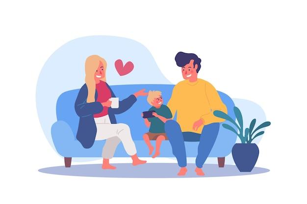 Famiglia che gode del tempo insieme Vettore Premium