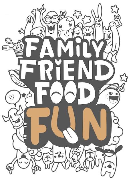 Cartolina di cibo di famiglia amico Vettore Premium
