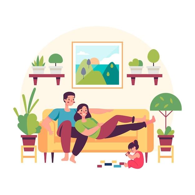 Famiglia a casa tempo di relax Vettore Premium