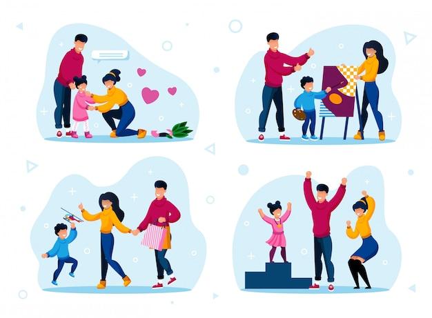 Routine di vita familiare e tipi di attività Vettore Premium