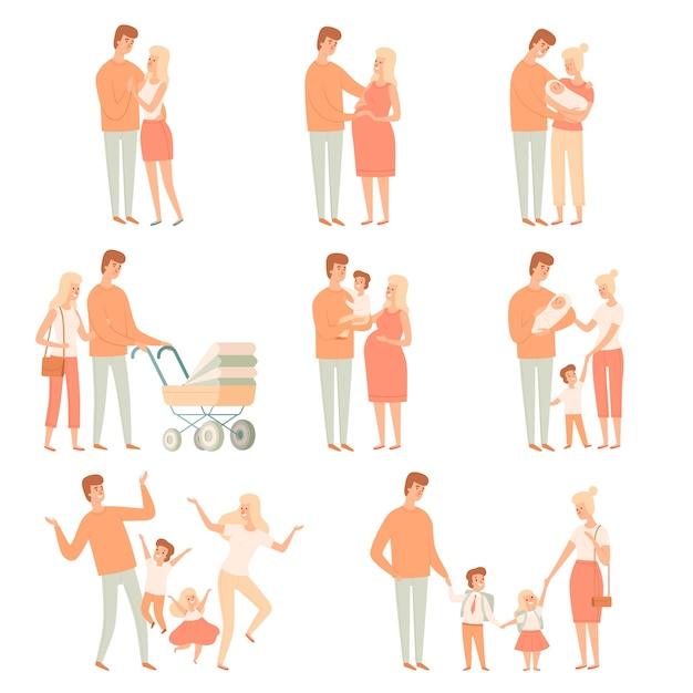 Partner familiari. relazioni genitori felici madre padre amore e felicità persone vettore illustrazioni dei cartoni animati. famiglia con bambino, madre padre figli Vettore Premium