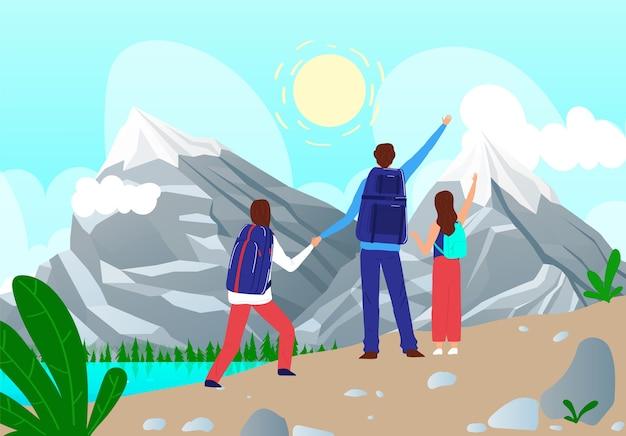 La gente della famiglia viaggia all'illustrazione delle montagne. Vettore Premium