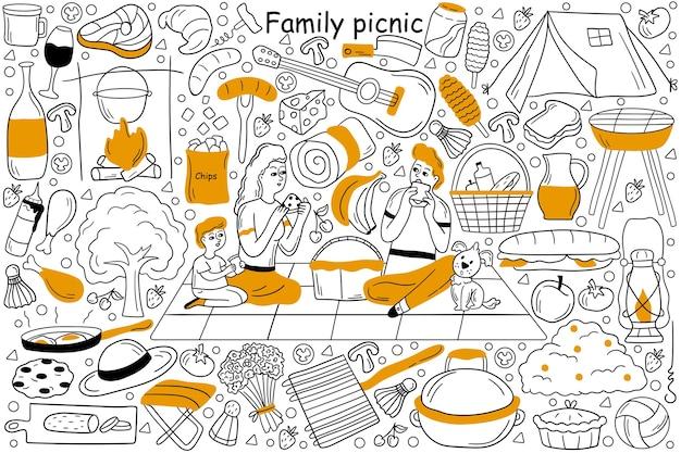 Insieme di doodle di picnic in famiglia Vettore Premium