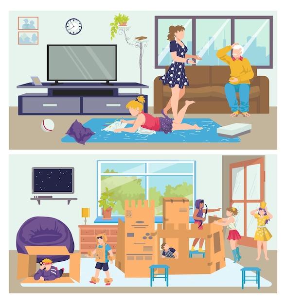 Famiglia set uomo donna persone carattere a casa dei cartoni animati, Vettore Premium