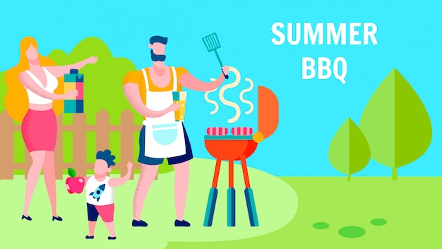 Modello di banner piatto di famiglia estate barbecue partito Vettore Premium