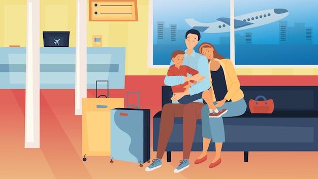 Concetto di viaggio con la famiglia. la famiglia felice con i bagagli sta viaggiando insieme. genitori con bambini dormono seduti in aeroporto in attesa del loro volo. Vettore Premium