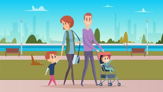 Passeggiata in famiglia nel parco cittadino. genitorialità felice, bambini svegli del fumetto. carattere di madre, padre e figli. Vettore Premium