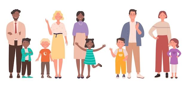 Famiglia con bambini illustrazione set. Vettore Premium