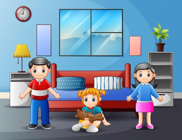 Famiglia con i genitori e bambino nell'illustrazione della camera da letto Vettore Premium