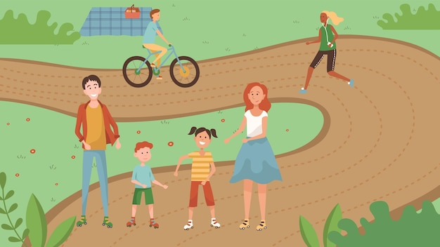 Famità weekend time concept. la famiglia con i bambini sta camminando nel parco. Vettore Premium