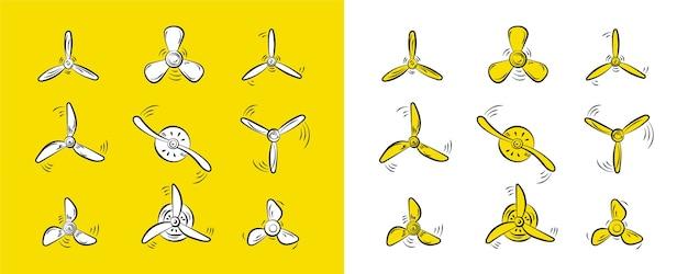 Ventilatore, motore del rotore, elica dell'aereo, elica rotante del ventilatore del vento, elica. Vettore Premium