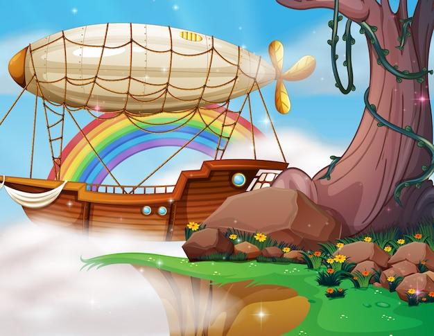 Fantasia dirigibile e scena della barca | Vettore Premium