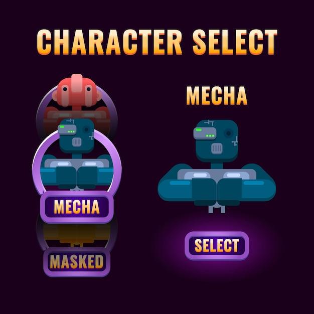 Viene visualizzata la selezione del personaggio dell'interfaccia utente di fantasy game Vettore Premium