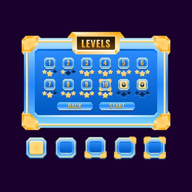 Interfaccia di selezione del livello dell'interfaccia utente del gioco di diamanti dorati fantasy per elementi di asset gui Vettore Premium