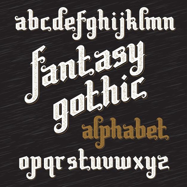 Carattere gotico fantasy. alfabeto vintage retrò. lettere di tipo personalizzato su sfondo scuro. Vettore Premium