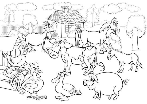 Cartone animato di animali da fattoria per libro da colorare Vettore Premium