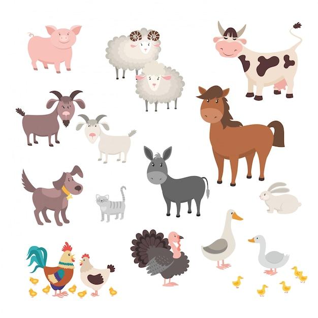Set di animali da fattoria. gatto animale isolato del coniglio di tacchino del cane del cavallo del pollo del maiale delle case. Vettore Premium