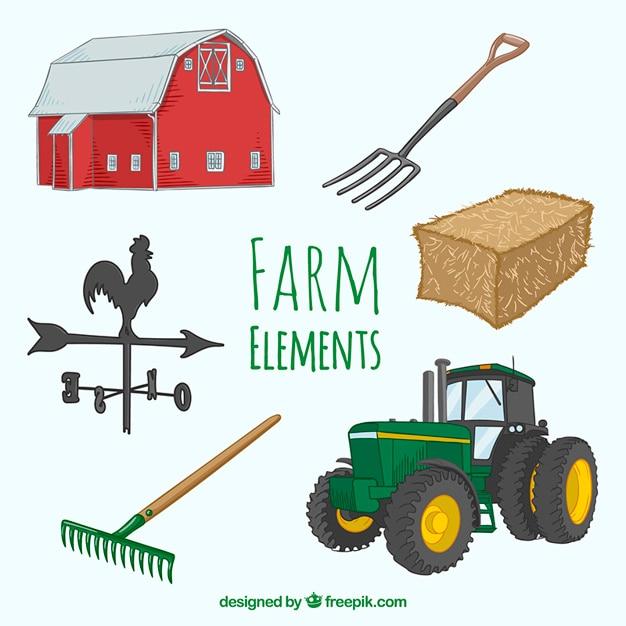 Elementi di design farm Vettore Premium