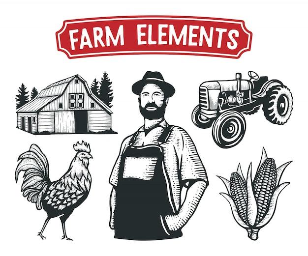 Farm elements disegnati a mano Vettore Premium