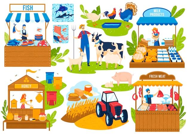 Insieme dell'illustrazione di vettore del mercato alimentare dell'azienda agricola. Vettore Premium