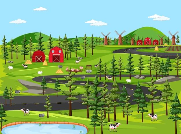 Natura dell'azienda agricola con scena di paesaggio di fienili Vettore Premium
