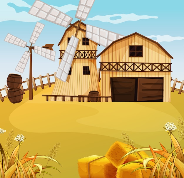 Scena dell'azienda agricola in natura con fienile e mulino a vento Vettore Premium