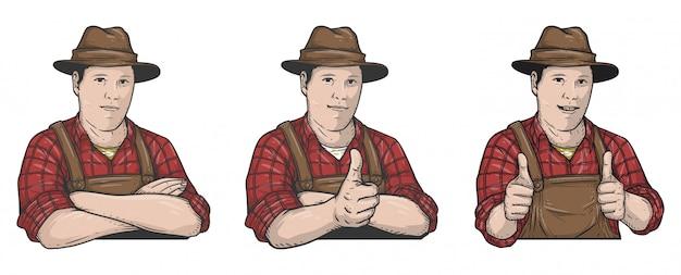 Illustrazione contadino Vettore Premium