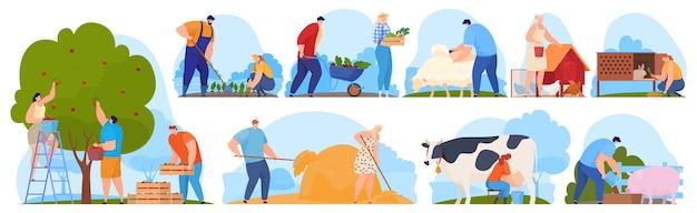 Agricoltori nella fattoria, lavoratori agricoli, raccolgono frutta e verdura. Vettore Premium