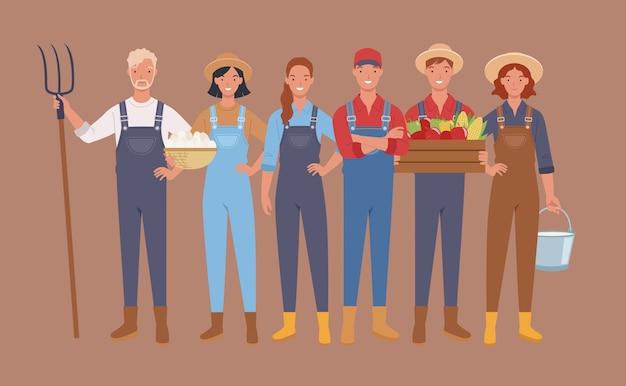 Agricoltori e personaggi della raccolta, lavoratori agricoli. Vettore Premium