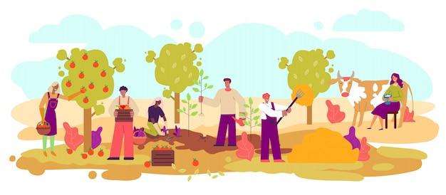Gli agricoltori che raccolgono e che coltivano gli animali schizzano l'illustrazione di vettore isolata. Vettore Premium