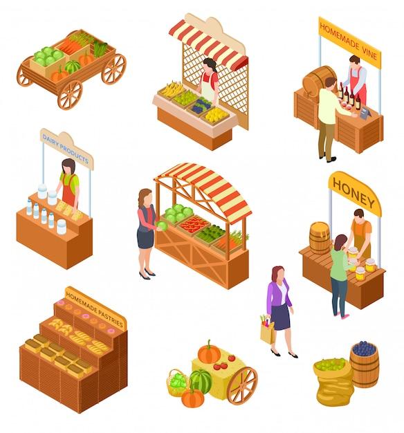 Mercato degli agricoltori isometrico. la gente vende e compra piatti tradizionali, frutta e verdura sul mercato alimentare con bancarelle Vettore Premium