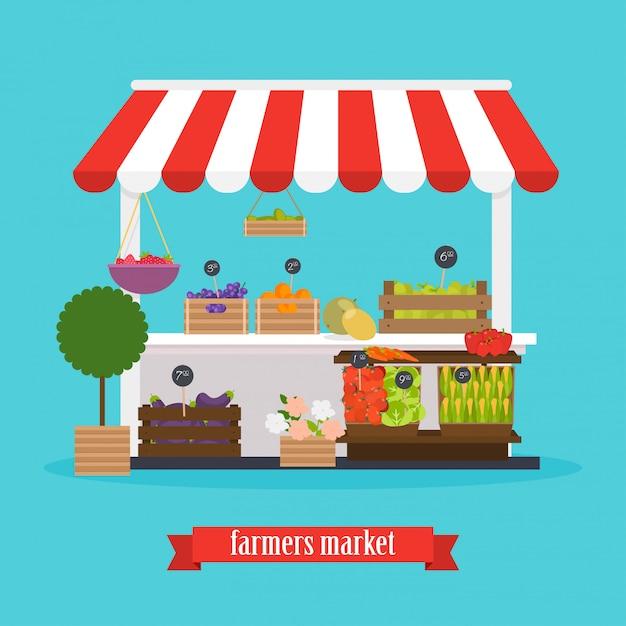 Mercato degli agricoltori. mercato locale frutta e verdura. Vettore Premium