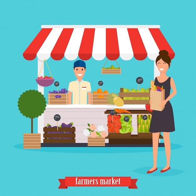 Mercato degli agricoltori. la donna tiene il sacco di carta con cibi sani. Vettore Premium