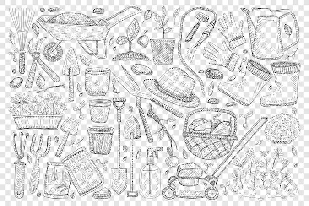 Strumenti di agricoltori per il giardinaggio doodle insieme illustrazione Vettore Premium