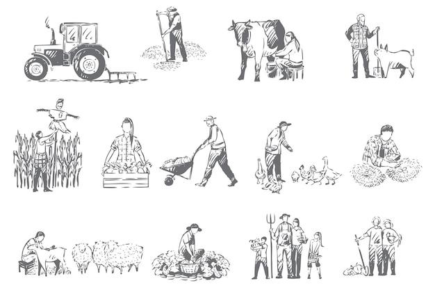 Azienda agricola, illustrazione di schizzo di concetto di economia rurale Vettore Premium