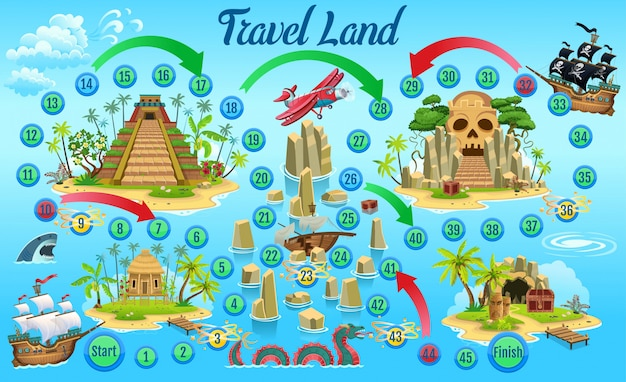 Affascinante gioco di avventura pirata per bambini. Vettore Premium