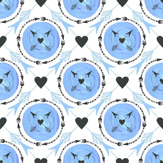 Sfondo di moda con frecce e cerchi ornamento. disegno geometrico della stampa. struttura senza saldatura tribale vettore blu texture pittura. Vettore Premium