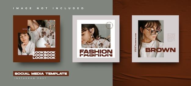 Modello di progettazione di banner di moda con stile astratto per i tuoi social media e post di instagram Vettore Premium