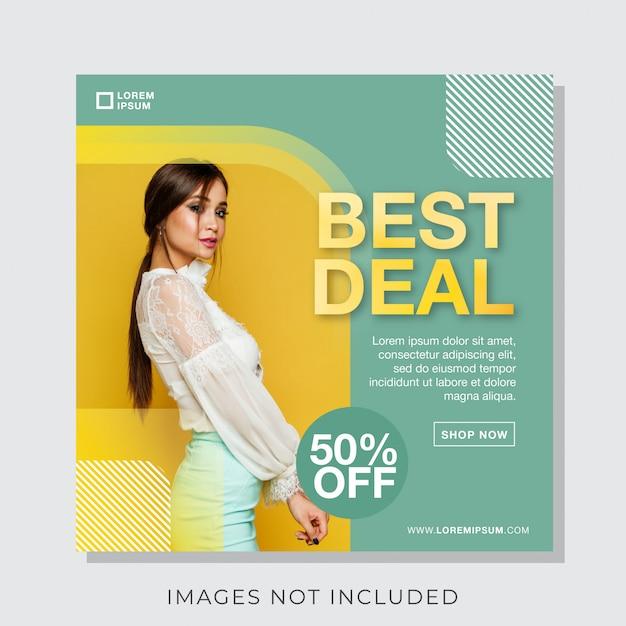 Banner di moda per instagram e social media modello post Vettore Premium