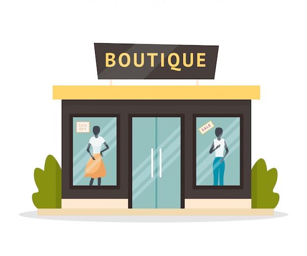 Illustrazione piana della facciata del boutique di moda Vettore Premium