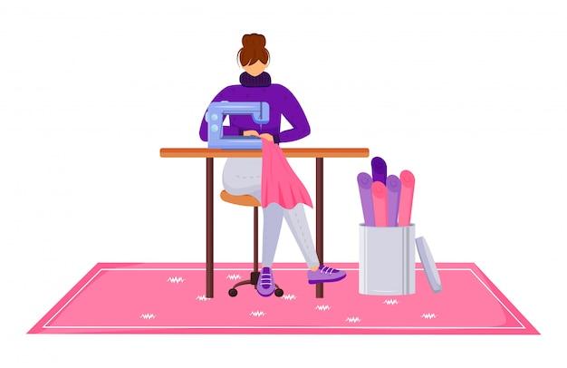 Illustrazione piana di vettore di colore dell'atelier dello stilista. assistente con macchina da cucire in officina. progettando e riparando i vestiti nel personaggio dei cartoni animati isolato studio del sarto Vettore Premium