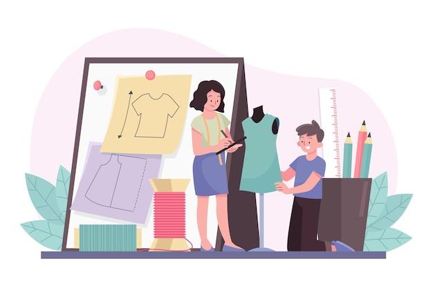 Illustrazione di concetto di stilista di moda Vettore Premium