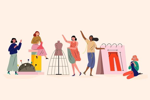Concetto di designer di moda persone che fanno vestiti Vettore Premium